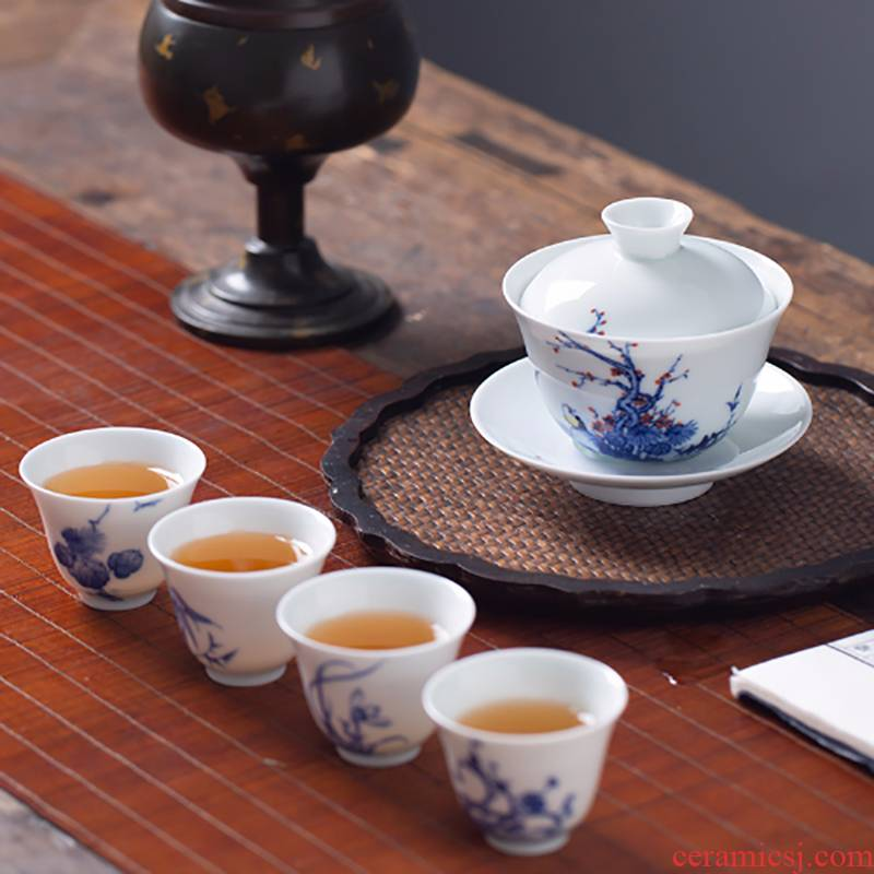 Blue and white sample tea cup white porcelain hand - made ceramic cups masters cup kung fu tea set by patterns single cup by hand