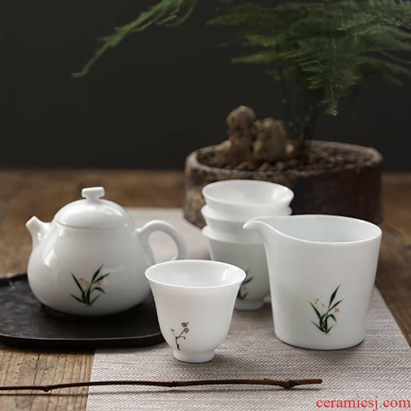 Manual hand - made a set of tea sets white porcelain kung fu tea sample tea cup item noggin household ceramic teapot suit