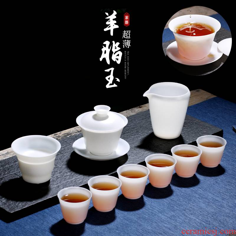 . Poly real scene dehua suet jade porcelain kung fu tea set thin body white porcelain household tureen customizable high - end the teapot