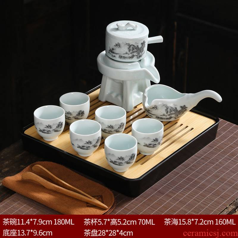 Lazy kung fu tea set suit household contracted purple sand cup half full automatic restoring ancient ways of creative tea tea cup