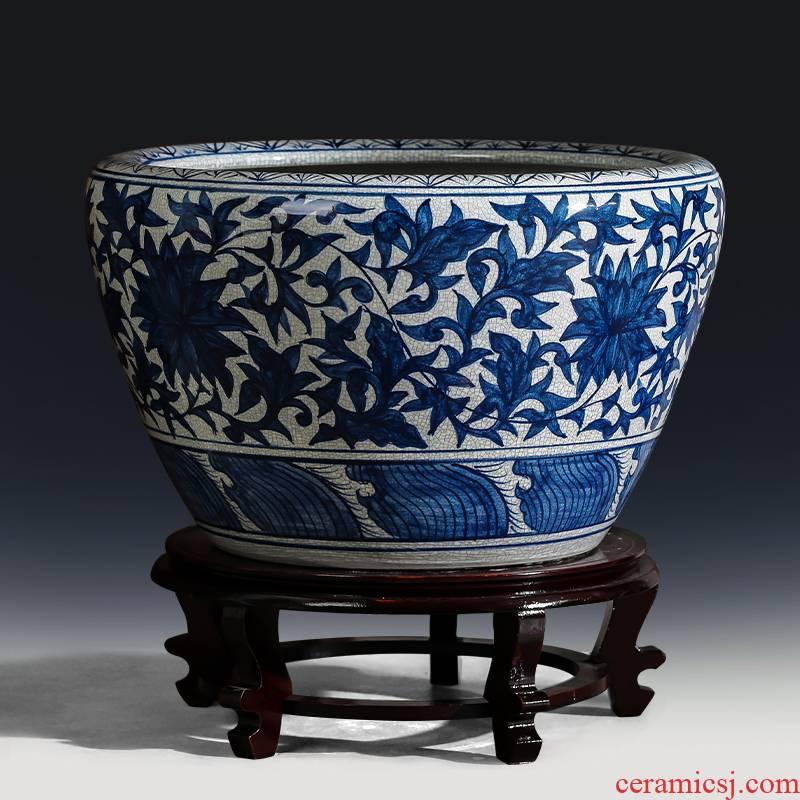 Jingdezhen porcelain ceramic hand - made oversized archaize kilns were raising goldfish bowl water lily hydroponic pot king furnishing articles