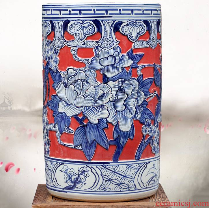 Jingdezhen ceramic quiver carving peony figure put vase mesa of sitting room office furnishing articles calligraphy and painting scroll to receive goods