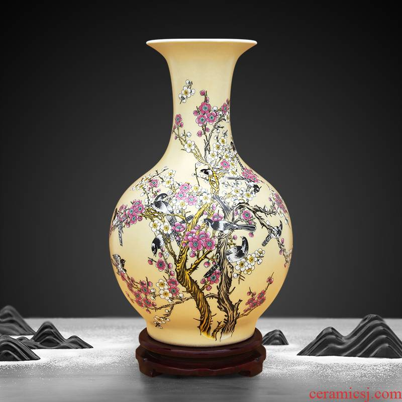To porcelain industry of jingdezhen ceramic vase champagne gold colouring beaming furnishing articles