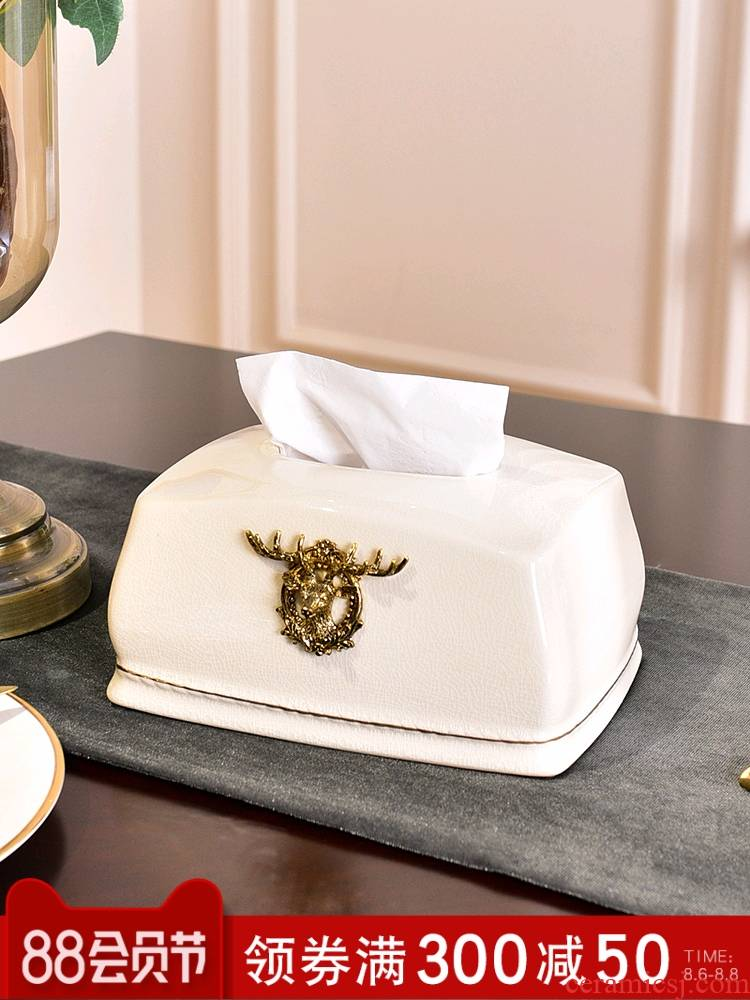 Modern light key-2 luxury ceramic tissue box sitting room home American European creative smoke box decorated table napkin box
