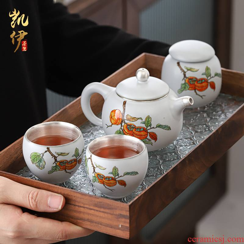 Your up coppering. As silver tea set a pot of two cups of tea can travel tea set jingdezhen ceramic teapot cup silver cup