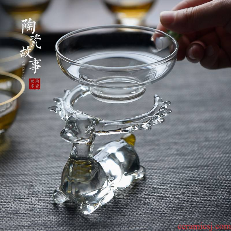 Creative tea pet story glass) exchanger with the ceramics furnishing articles kung fu tea accessories) filter tea strainer