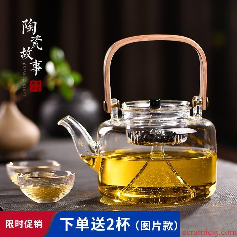 Ceramic story cooking pot glass kettle domestic high temperature resistant electric TaoLu boiled tea, kungfu tea set