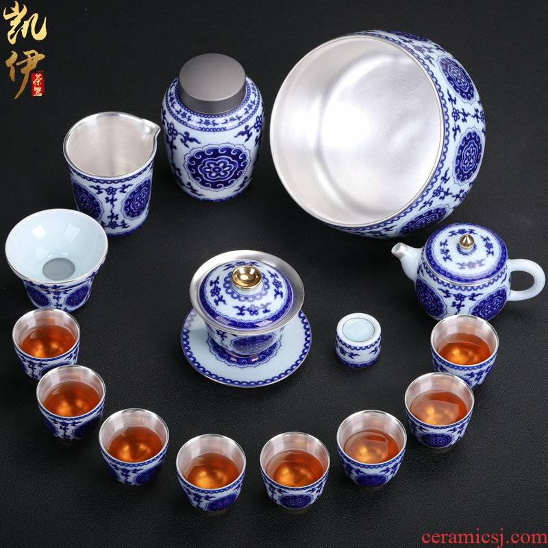 Blue and white porcelain tea set coppering. As silver tea set tea ware jingdezhen ceramic tea set office household gifts sets