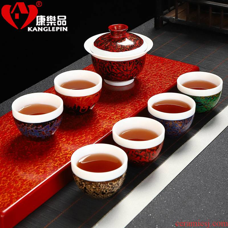 Recreational taste Chinese lacquer lacquer tea Chinese court wind pure manual Chinese lacquer kung fu tea set a complete set of ceramic tea cups