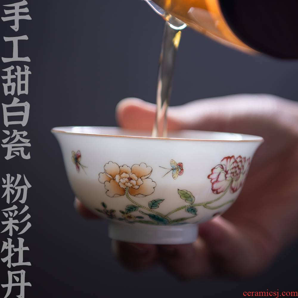 "Twenty - four ware jingdezhen ceramic masters cup sweet white enamel cup ""women 's cup pure manual hand - made kung fu"
