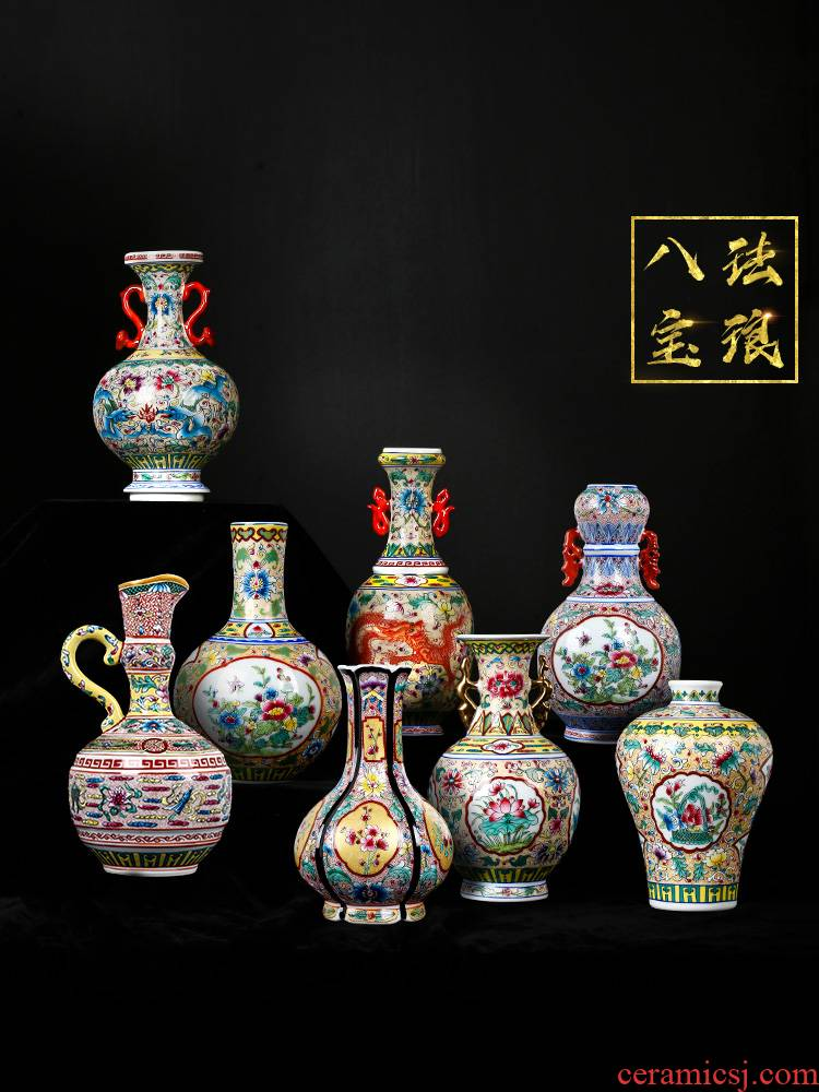 Jingdezhen porcelain floret bottle of pottery and porcelain enamel color restoring ancient ways of archaize sitting room of Chinese style household flower adornment furnishing articles