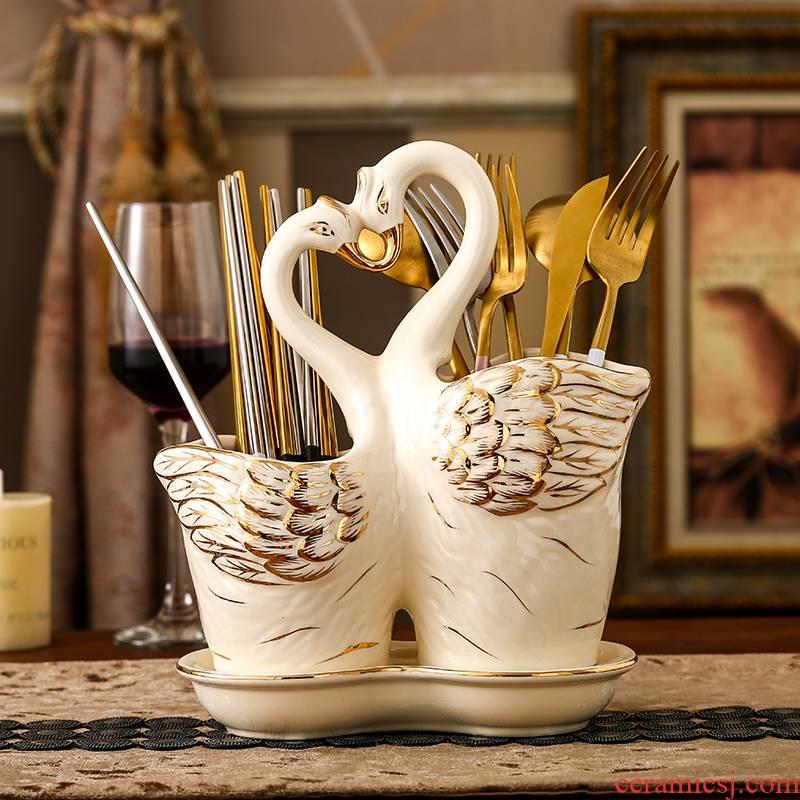Chopsticks Chopsticks European ceramic gifts creative drop the receive kitchen cone double Chopsticks household frame tube shelves tableware
