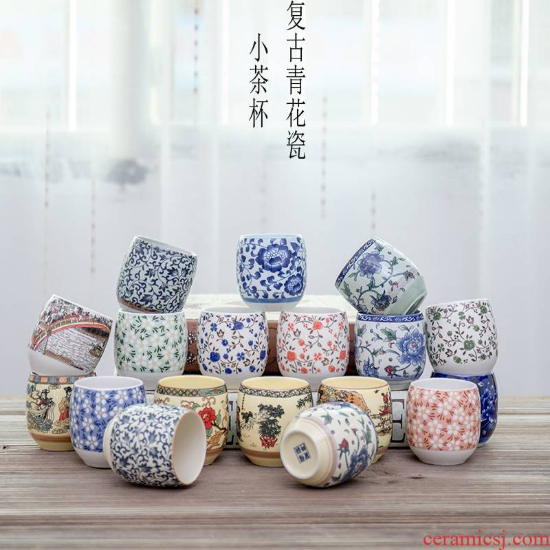 A single small blue and white porcelain ceramic cups retro master cup of red tea cup 130 ml glass cup household type