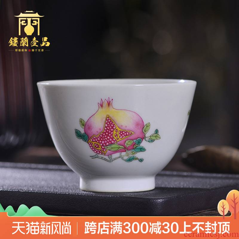 Jingdezhen ceramic all hand antique pastel sanduo lines master cup kung fu tea with a single cup cup by hand