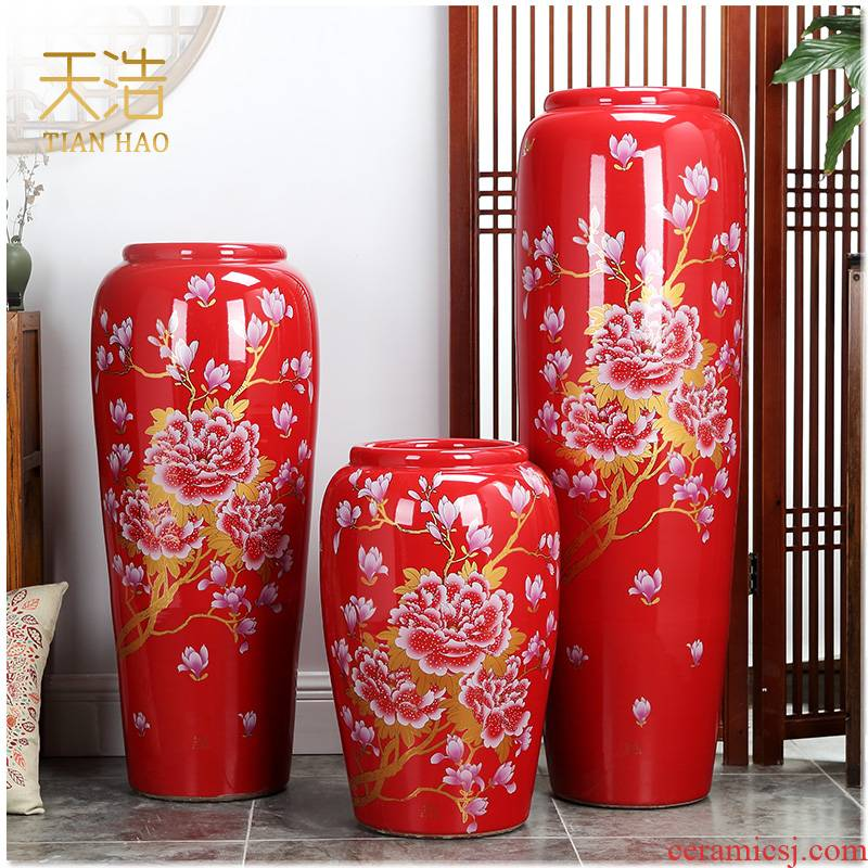 Jingdezhen ceramics 3 sets of large red vase I household housewarming gift sitting room adornment is placed
