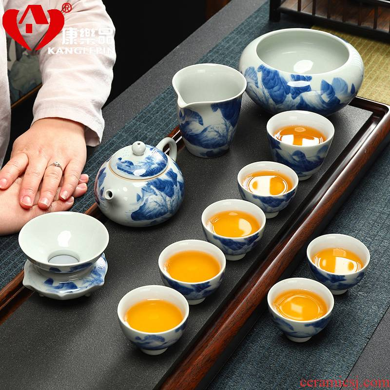 Recreational product ceramic kung fu tea set archaize open a piece of blue and white landscape pattern of a complete set of office home teapot set of tea cups