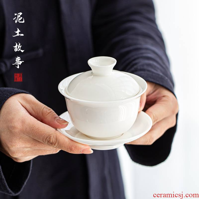 Dehua white porcelain peace only three individual household kung fu tea set against the very hot tureen tea cups thin tire cover cup tea bowl