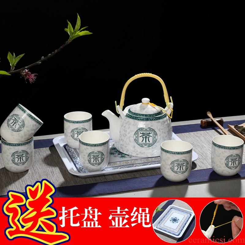High - temperature High - capacity teapot tea set girder pot of tea of a complete set of jingdezhen blue and white porcelain teapot teacup household