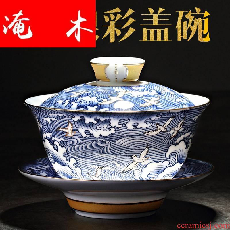 Flooded wood retro tureen household ceramic cups large blue and white porcelain tea bowl is only three colored enamel hot kung fu