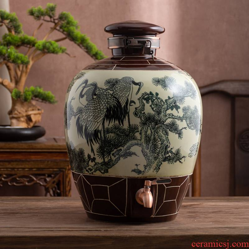Jingdezhen ceramic household seal wine wine jar cylinder 10 jins 20 jins 30 jins 50 liquor bottles hip flask