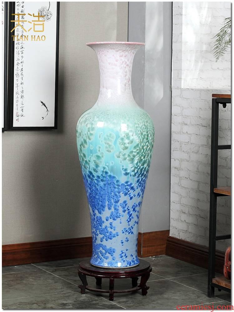 Jingdezhen ceramics vase of large crystalline glaze sitting room place of blue and white porcelain hotel lobby decoration decoration