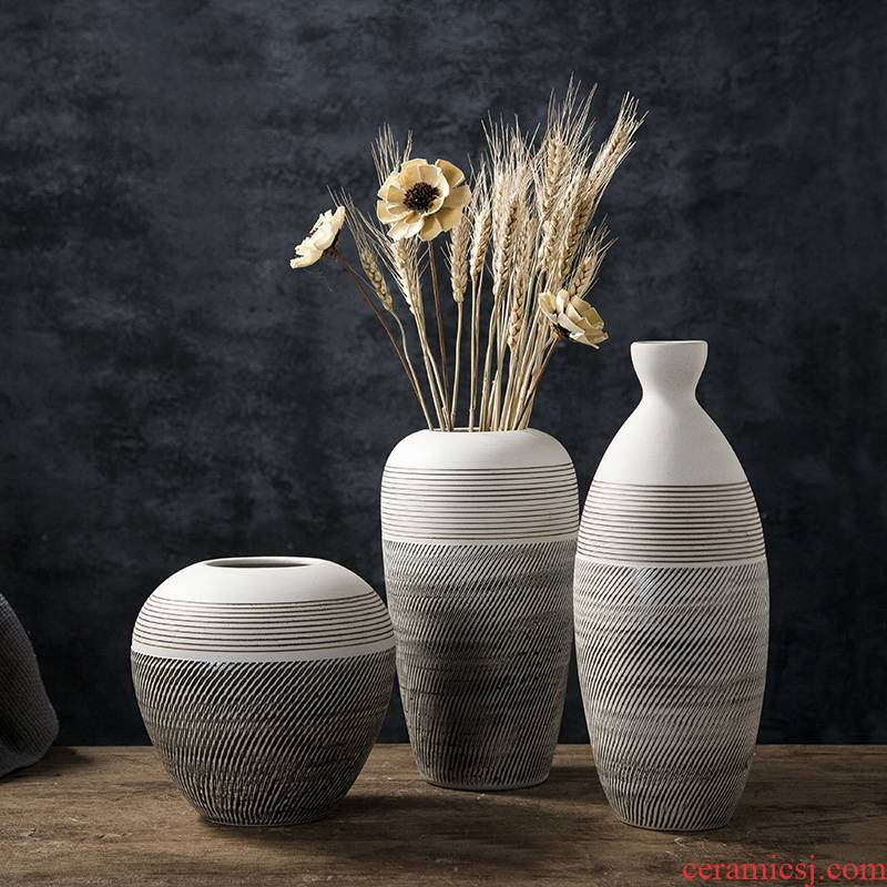 Ceramic small pure and fresh and restore ancient ways flower arrangement sitting room adornment is placed dry flower decoration creative home floret bottle of flower POTS