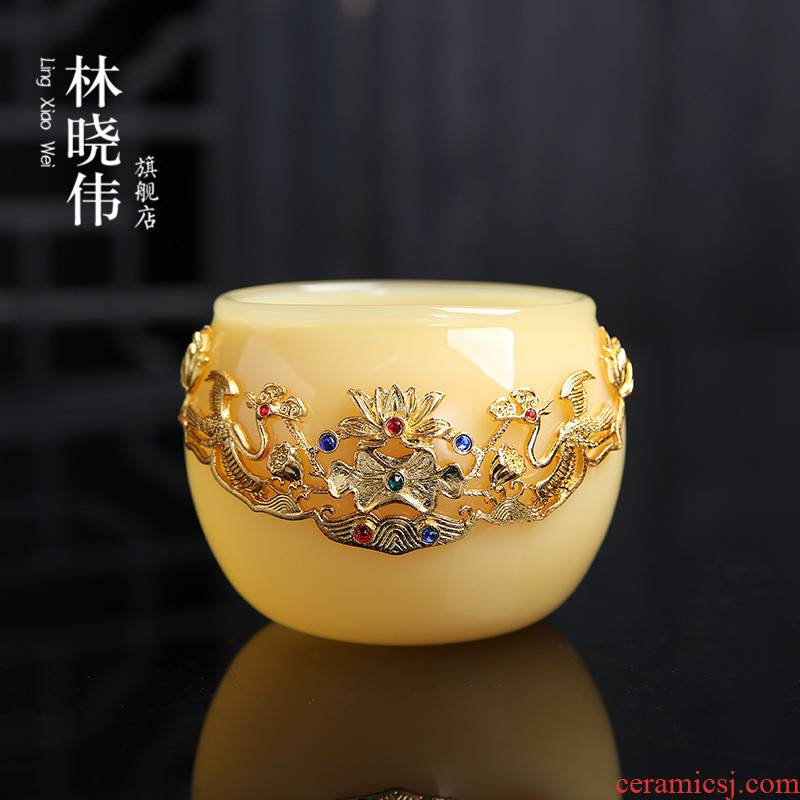 Huang Longyu porcelain cup with platinum master cup single CPU getting sample tea cup high - grade imitation jade tea coloured glaze, big kung fu