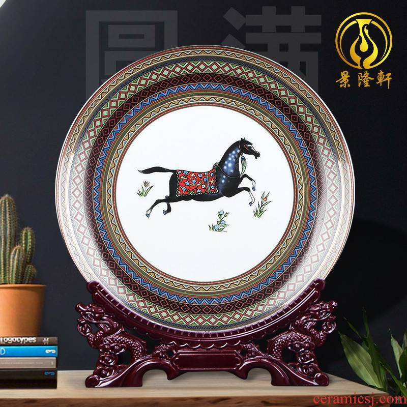Jingdezhen ceramics ou ma faceplate hang dish plate decoration plate of southeast Asia wine household handicraft furnishing articles