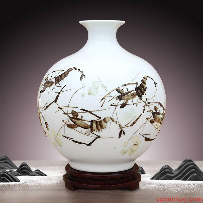 To ceramics pure hand - made color ink shrimp boring pomegranate bottles of sitting room adornment is placed