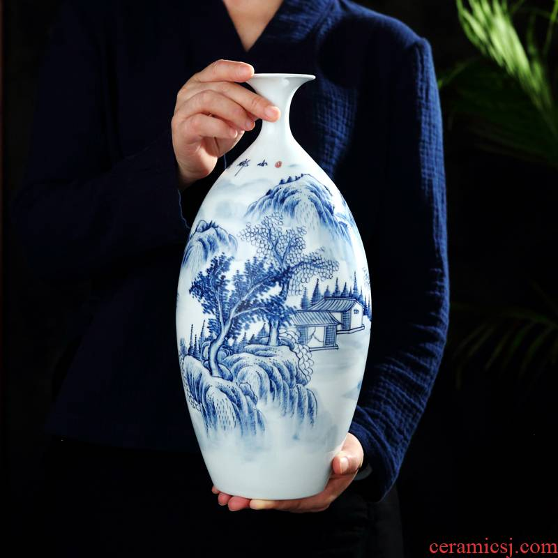Jingdezhen porcelain hand - made ceramic vase furnishing articles study adornment archaize sitting room as a spring