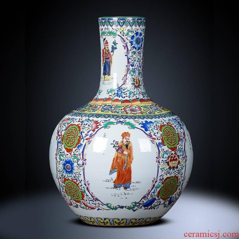 Jingdezhen ceramics landing large vases, antique famille rose tree sitting room TV ark, home decoration furnishing articles