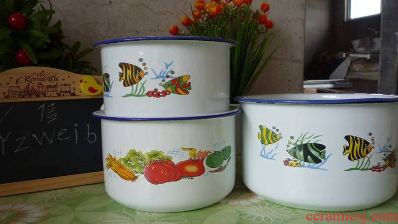 13 cm14cm16cm enamel POTS, Large capacity enamel cup classic rice snack cup students cylinder package mail