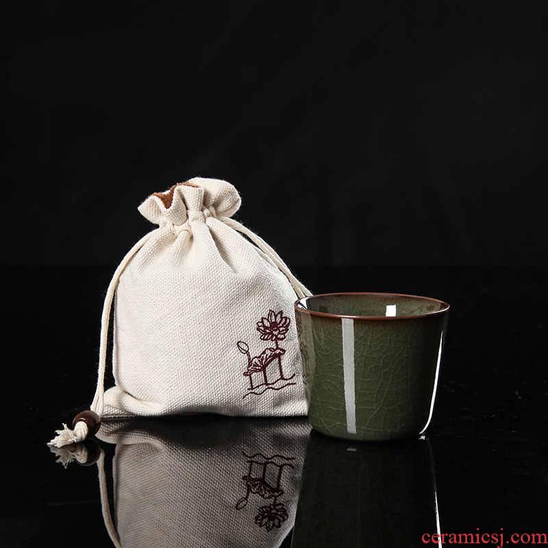 QY poly real scene celadon ceramics nameplates, fullness Wang Wu manual single cup cup tire iron elder brother up soup eat tea cups