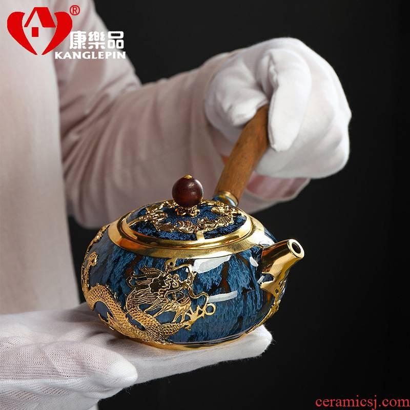 Recreational product an inset jades jingdezhen manually set Jin Gongfu make tea tea teapot teacup to build one single pot of household ceramics
