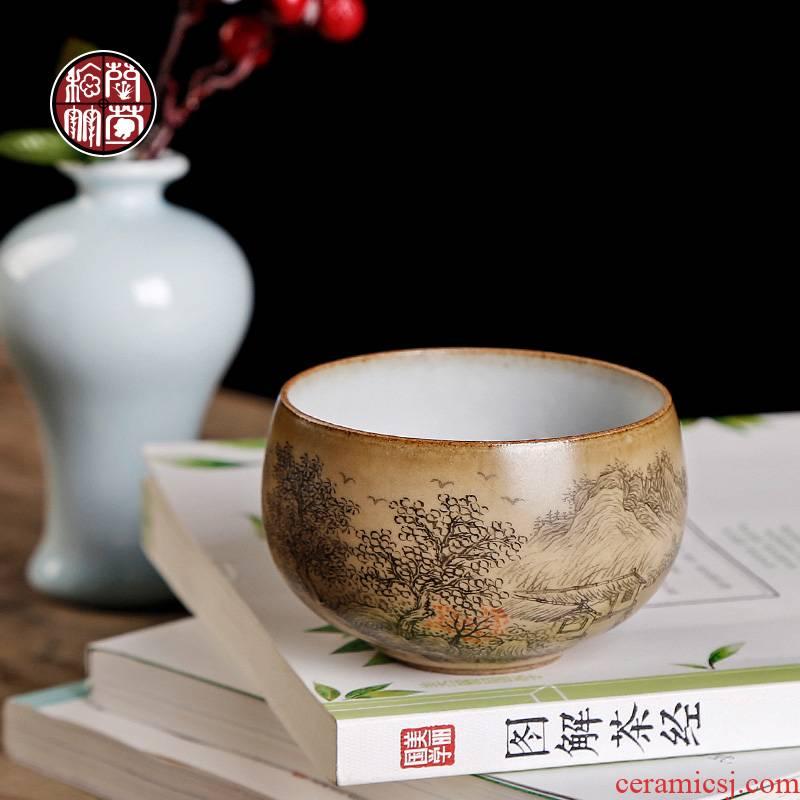 Your up yellow glaze master cup single cup pure manual hand - made scenery lohan cup large single kunfu tea cups ceramics
