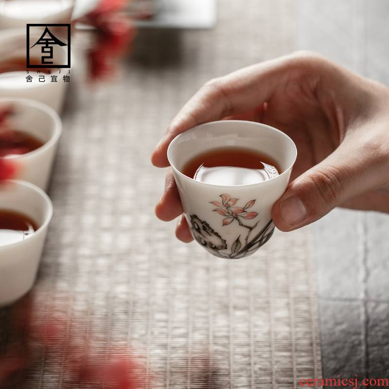 "The Self - ""appropriate content jingdezhen ceramic sample tea cup cup kung fu small single CPU kunfu tea cups tea white porcelain hand - made"