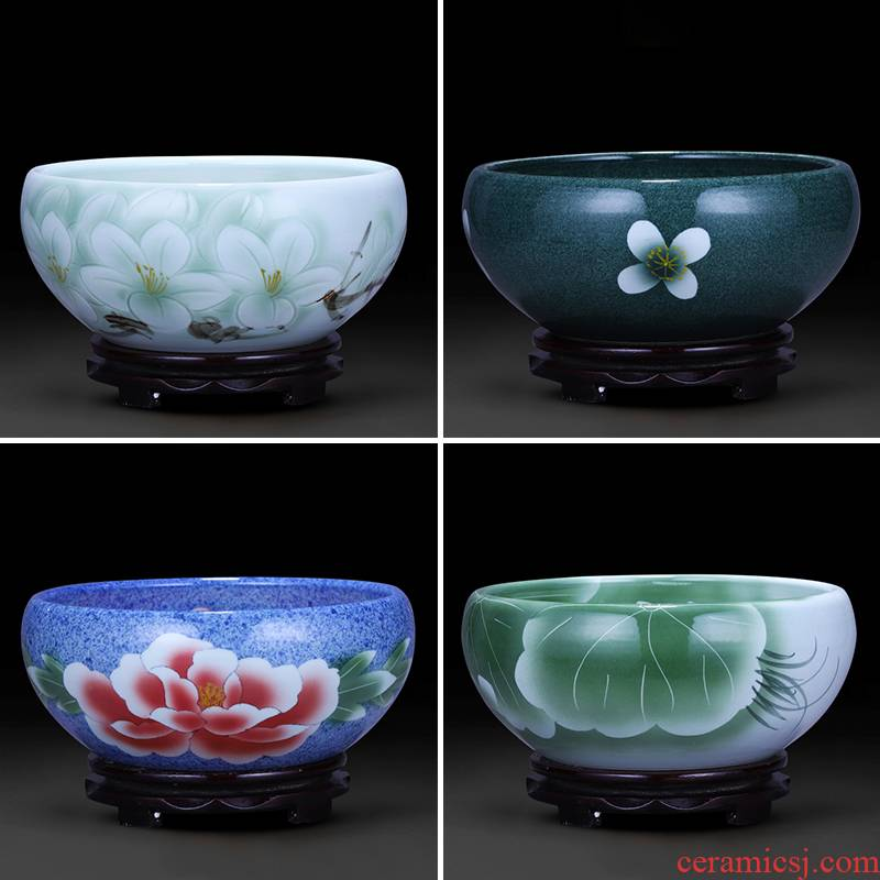 Jingdezhen ceramics aquarium feng shui turtle cylinder goldfish bowl water shallow basin daffodils lotus pond lily furnishing articles