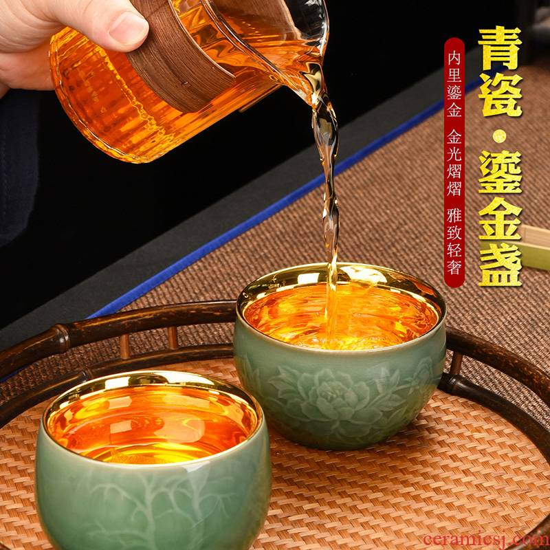 Recreational products checking celadon bodhi leaf cup men 's and women' s individual gold lamp that kung fu office Chinese peony