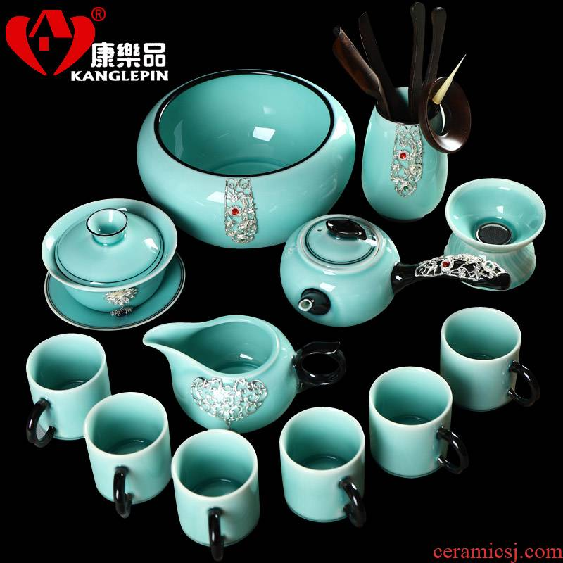 Recreation items with silver agate embedded ceramic tea set suit household kung fu tea sets the whole Chinese tea cups