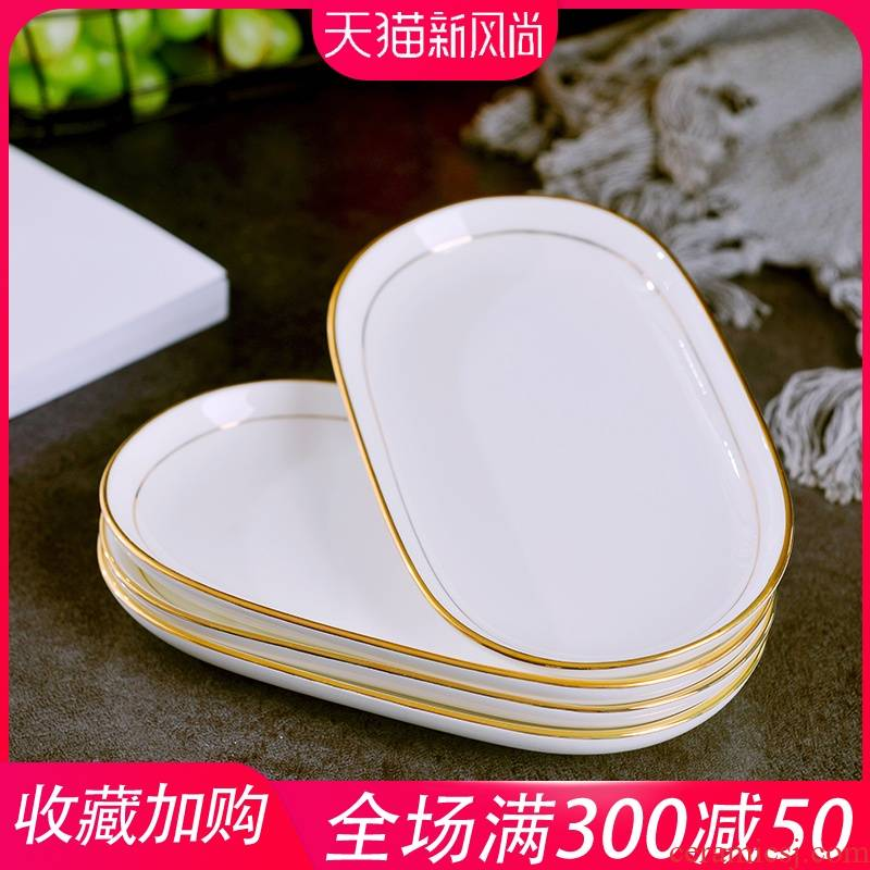 Jingdezhen ceramic towel up phnom penh dish creative household oval dessert plate hotel set up special ceramic plates