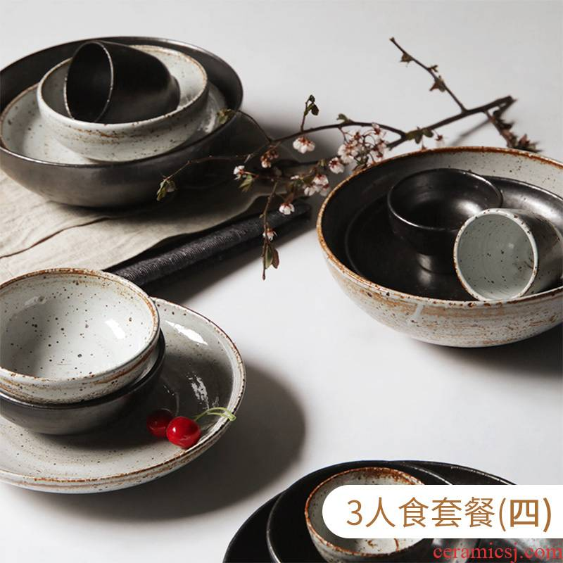 About Nine Japanese soil coarse ceramic tableware suit manual household rice rainbow such as bowl plate retro 3 creative 11 dresses