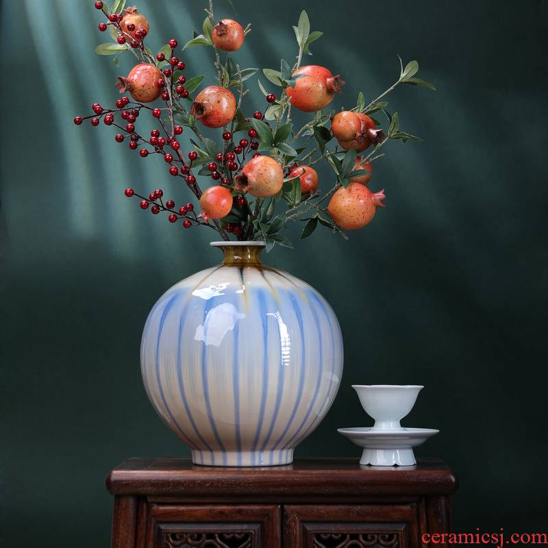 Pomegranates of blue bottle of dry flower decoration vase furnishing articles Nordic jingdezhen ceramic creative flower arranging contracted sitting room ins
