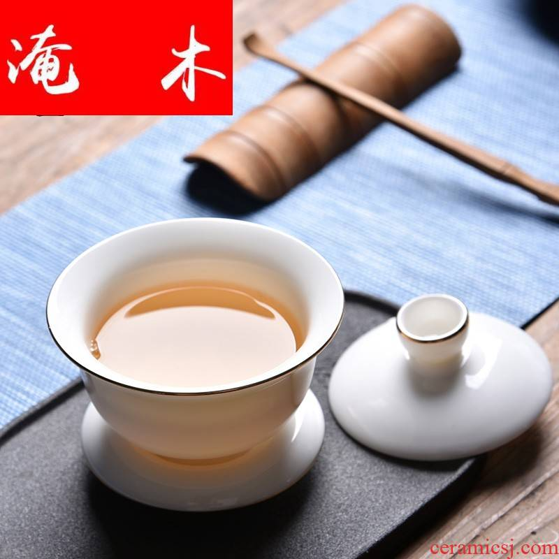 Submerged solid wood, white porcelain tureen white porcelain tea machine three bowl of tea filter bracket tea accessories