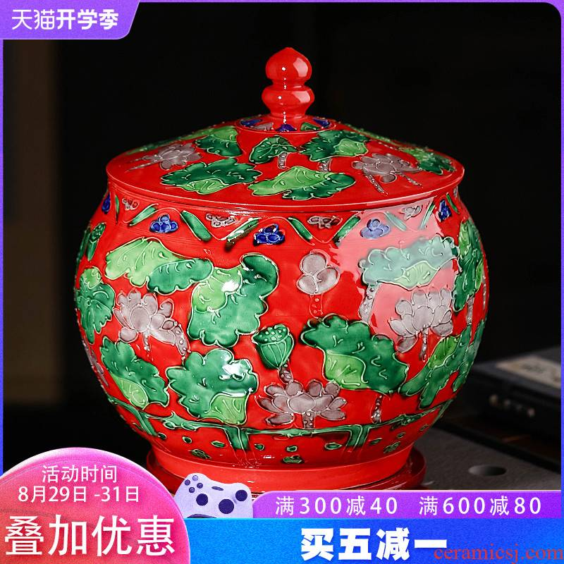 Jingdezhen porcelain carving caddy fixings large household with cover storage canned tea seven cakes and tea urn