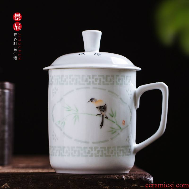 Jingdezhen and exquisite porcelain filtering cup office cup hand - made powder enamel restoring ancient ways with cover glass tea cup