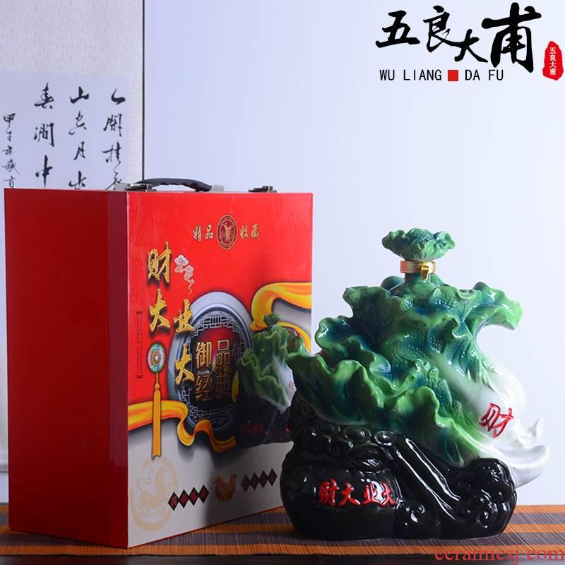 Jingdezhen ceramic bottle with gift box 10 jins creative cabbage rich liquor bottles outside home seal wine