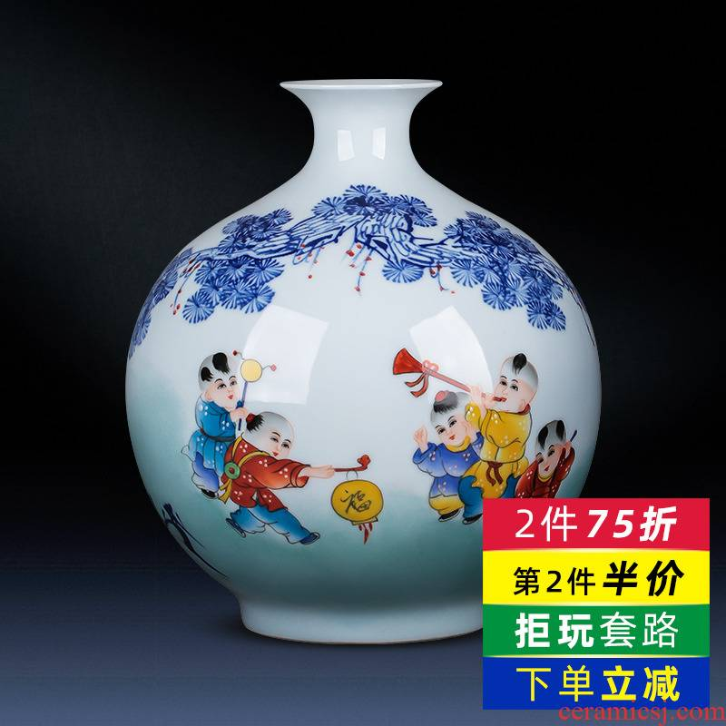 Jingdezhen ceramics hand - made pomegranate bottles of blue and white porcelain vase household adornment rich ancient frame sitting room porch place