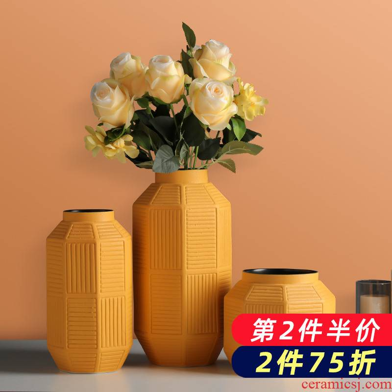 Dry flower vases, ceramic northern wind flower arranging act the role ofing is tasted household contracted sitting room porch table, TV ark, adornment furnishing articles