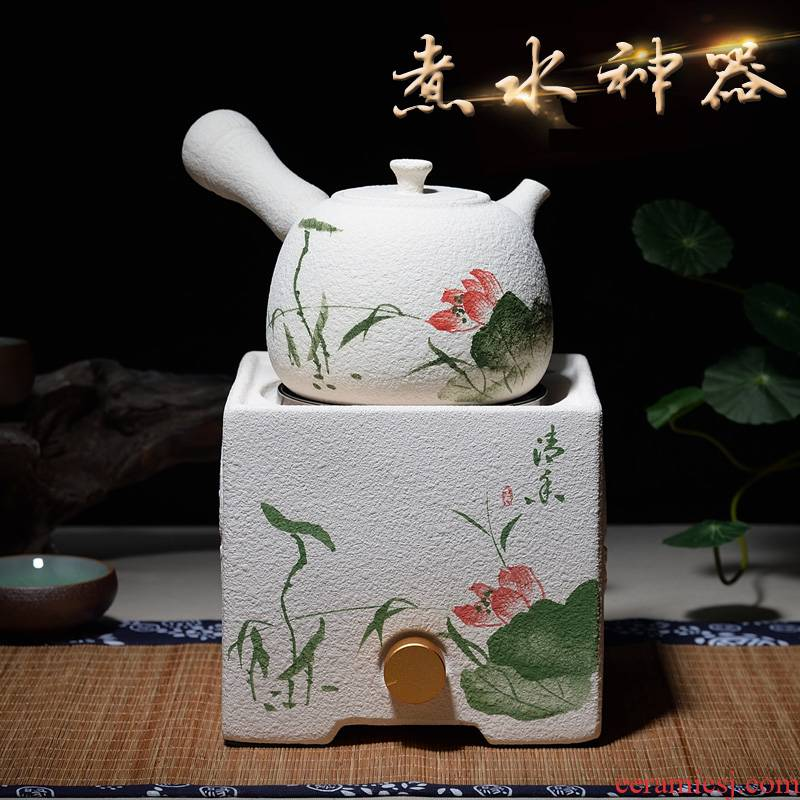 Japanese manual white clay kettle clay POTS to boil water pot.mute no radiation electric TaoLu home quickly