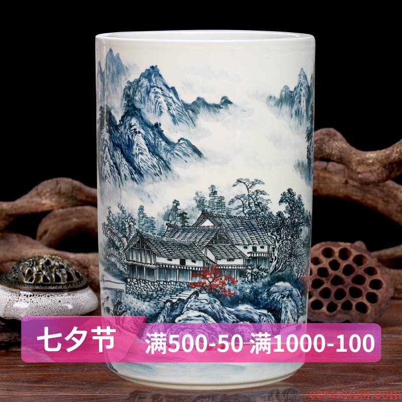 Jingdezhen ceramics big vase furnishing articles hand - made color landscape quiver painting and calligraphy jiangshan jiao sitting room more act the role ofing is tasted